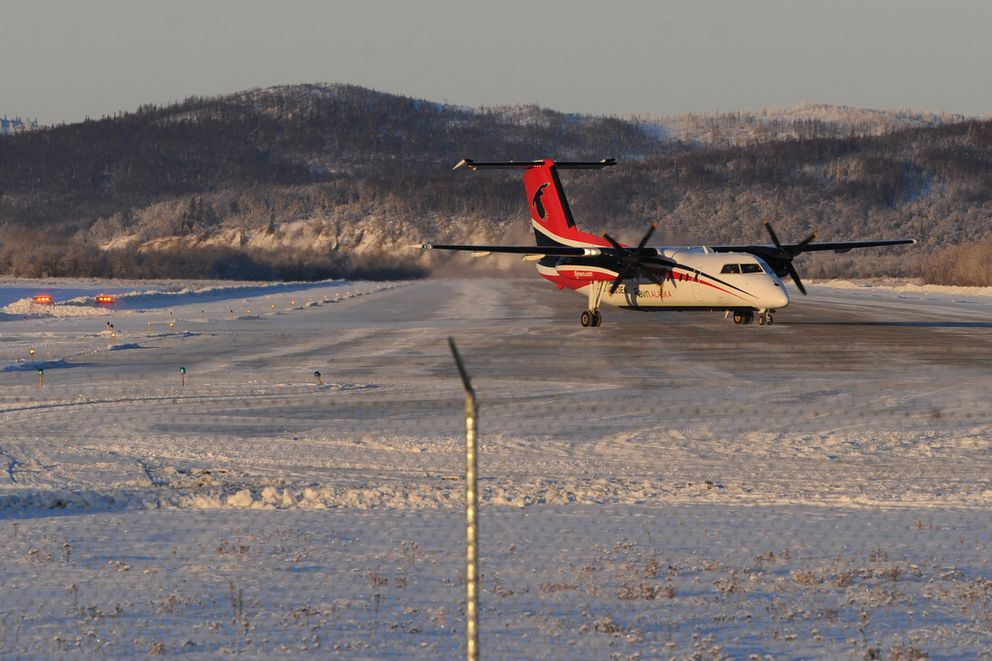 A Ravn Dash 8 prepares to take off from the Aniak airport for a return flight to Anchorage. (Bill Roth / Alaska Dispatch News)