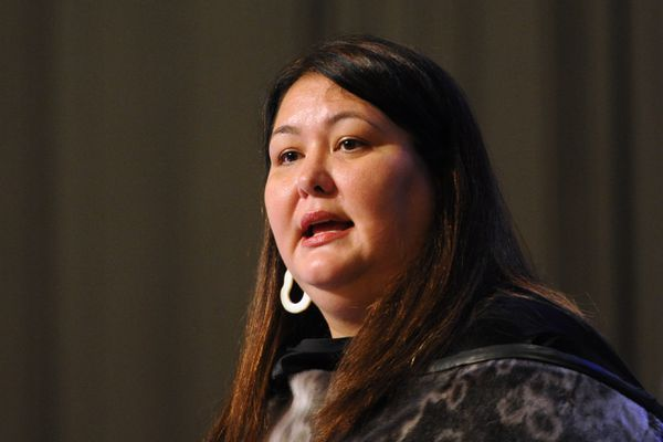 Tara Sweeney, Assistant Secretary for Indian Affairs, U.S. Dept. of the Interior, spoke during the AFN Convention in the Dena'ina Center on Thursday, Oct. 18, 2018. (Bill Roth / ADN)