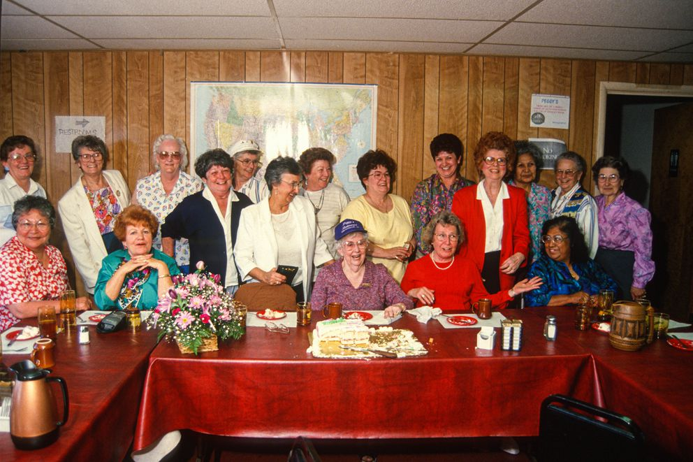During a reunion last week at Peggy's Restaurant, 91 year-old Peggy Lott is surrounded by some of her former employees, otherwise known as 'Peggy's Girls '. June 1, 1994. (Jim Lavrakas / ADN Archive 1994)
