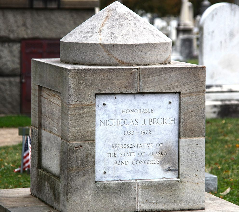 Cenotaph for Alaska Rep. Nicholas Begich at the Congressional Cemetery. Rep. Hale Boggs of Louisiana is memorialized on the other side. (Wikimedia Commons)