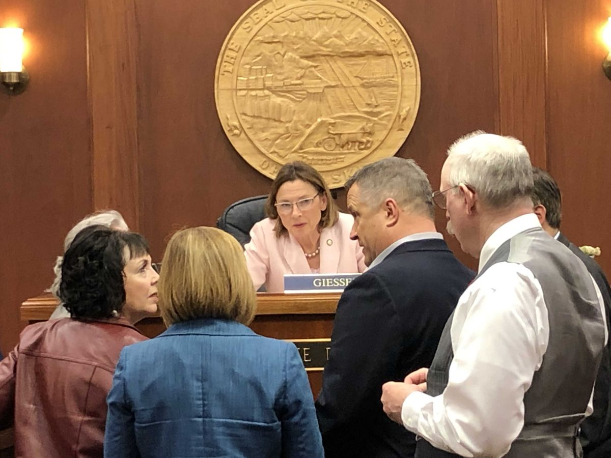 Senate President Cathy Giessel, R-Anchorage, listens to fellow senators as they discuss the end of the regular session late Wednesday, May 15, 2019. (James Brooks / ADN)
