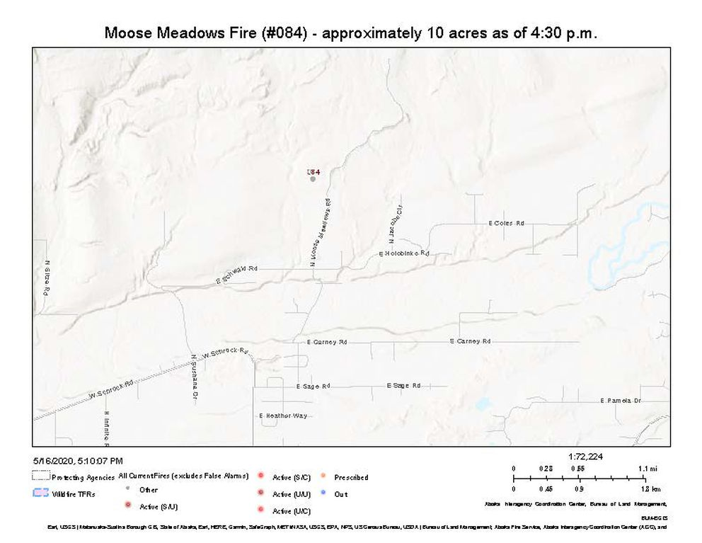 Location of the Moose Meadows fire north of Wasilla. (Alaska Division of Forestry)