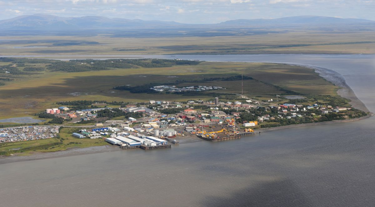 Aerial view of Dillingham, a fishing community on Bristol Bay near the site of the Pebble mine prospect, on Tuesday, August 27, 2013. (Bill Roth / ADN archive)