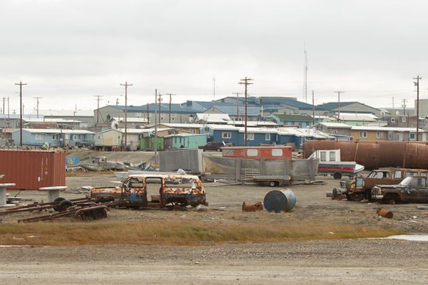 Kaktovik's Harold Kaveolook School, the large building with a blue roof, photographed on Sept. 8, 2012. (Loren Holmes / ADN)