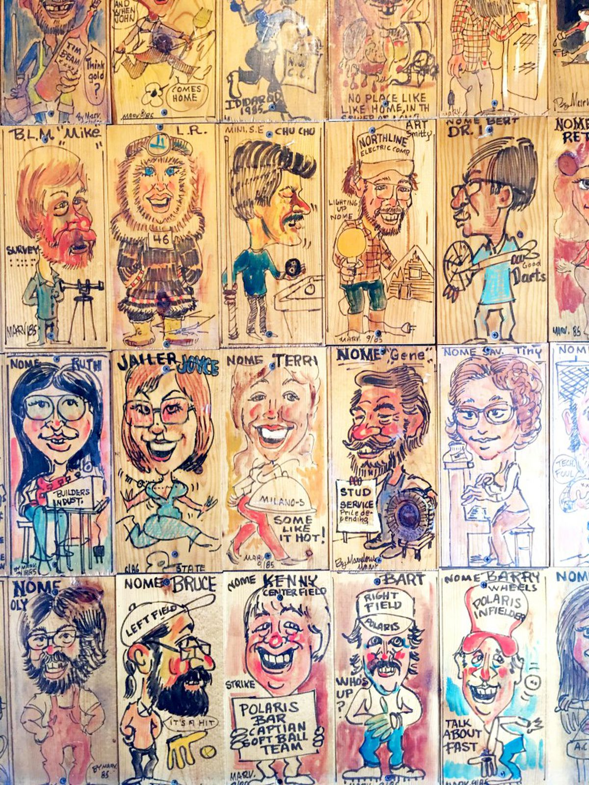 Art on the wall of the Polaris Bar in Nome, Alaska (Photo by Kirsten Swann / Alaska Dispatch News)