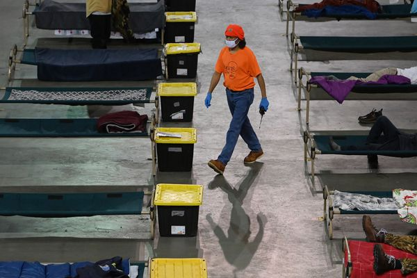 Tony Long spent four months as a client at the Mass Emergency Shelter in the Sullivan Arena before transitioning to a hotel and getting hired by Bean's Cafe. Wednesday, Feb. 24, 2021. (Bill Roth / ADN)
