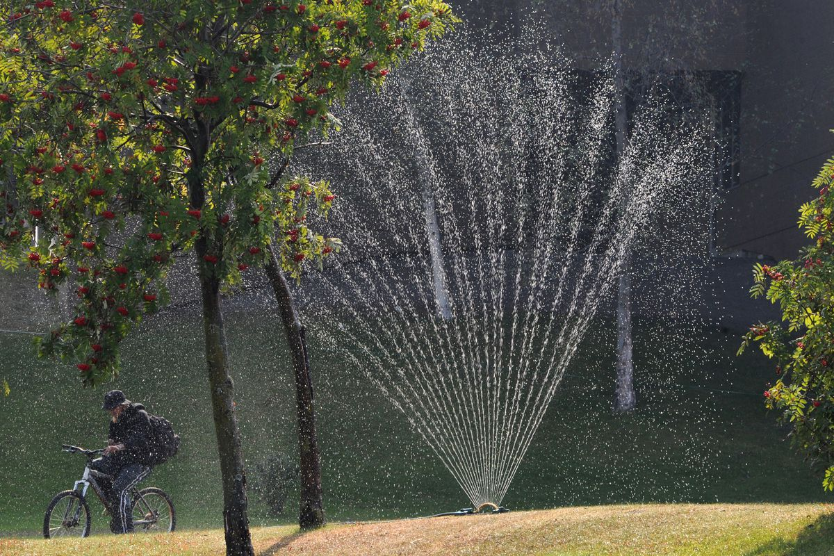 A bicyclist rides past a lawn sprinkler at the Z.J. Loussac Public Library on Thursday, Aug. 29, 2019. (Bill Roth / ADN)
