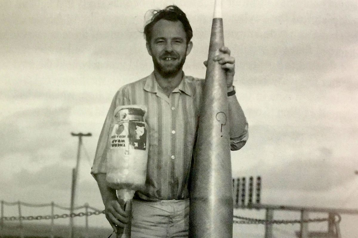 Neil Davis early in his rocket career on a ship off the coast of Ecuador during a NASA test in March 1965. (Courtesy of Davis Family)