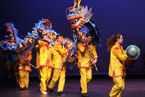 Chinese language students perform a Dragon Dance during a Chinese New Year celebration at Bartlett High School on Thursday, Feb. 15, 2018. Kindergartners and first graders from the Chinese emersion program at Scenic Park Elementary and the UAA Confucius Institute helped wring in the Year of the Dog which begins on Friday. (Bill Roth / ADN)