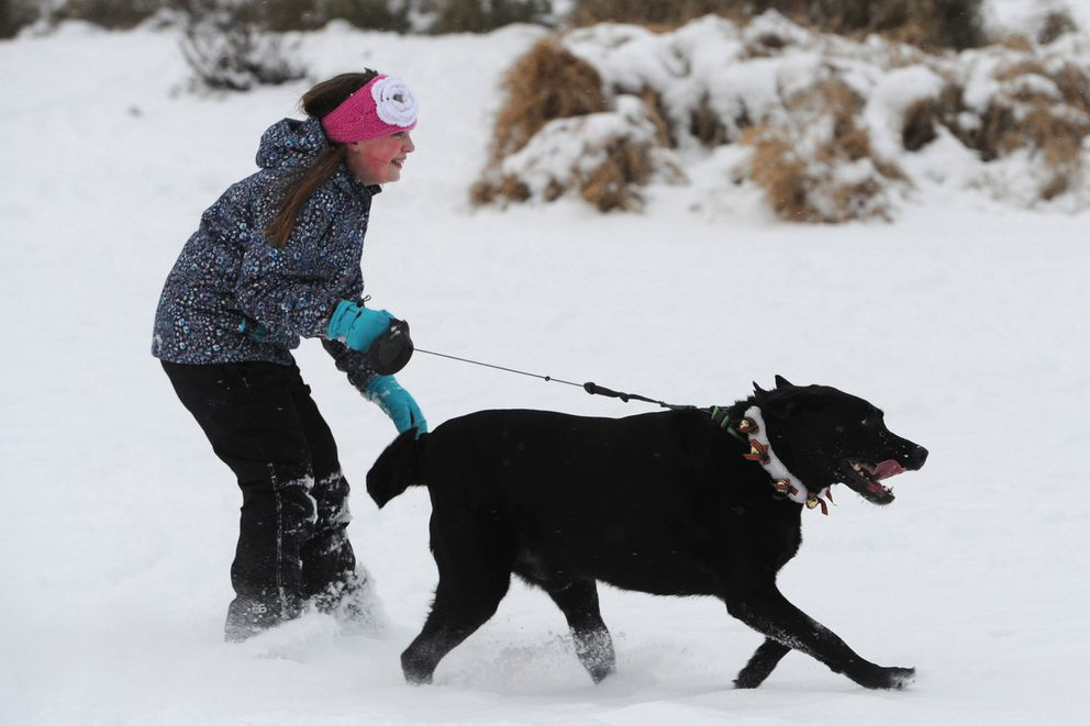 Charlee Carroll glides through the fresh snow as 7-year-old Fisher pulls her while ice skating at Westchester Lagoon on Christmas Day. (Bill Roth / ADN)