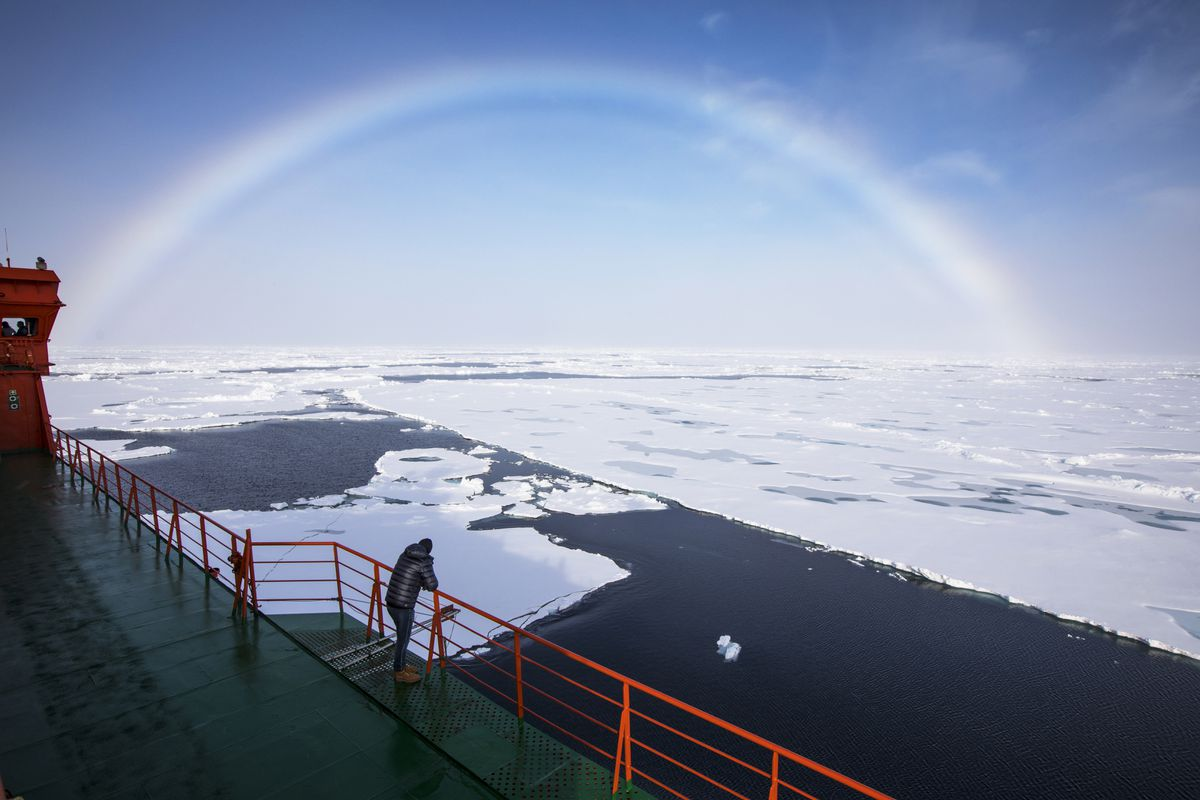 A white rainbow across the arctic sky as seen from the Russian icebreaker 50 Let Pobedy (or, in English, 50 Years of Victory). (Mark Chilvers/for The Washington Post)
