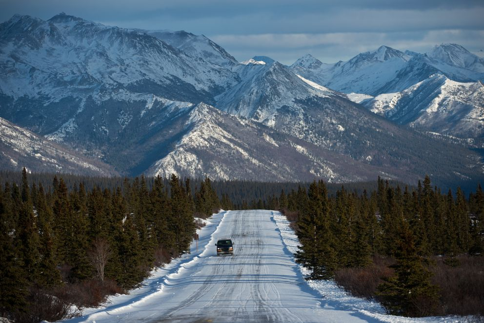 Mountains to the east of Denali National Park provide a rugged backdrop to the easternmost miles of the Denali Park Road on Feb. 17, 2015. (Marc Lester / Alaska Dispatch News)