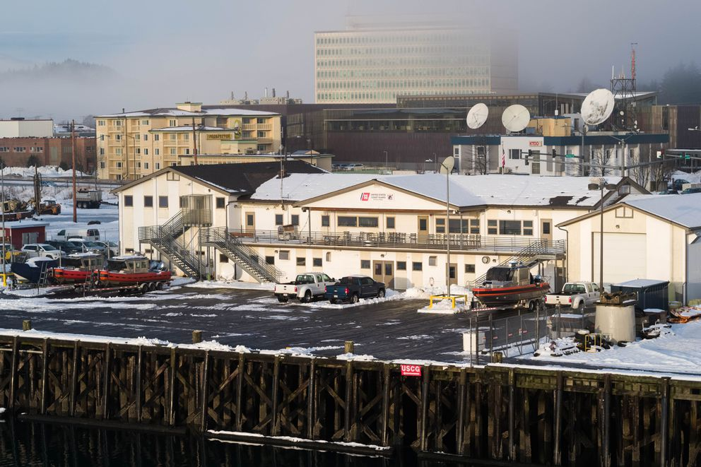 The Coast Guard Station Juneau, with the federal building behind, on Tuesday, Jan. 15, 2019. (Loren Holmes / ADN)