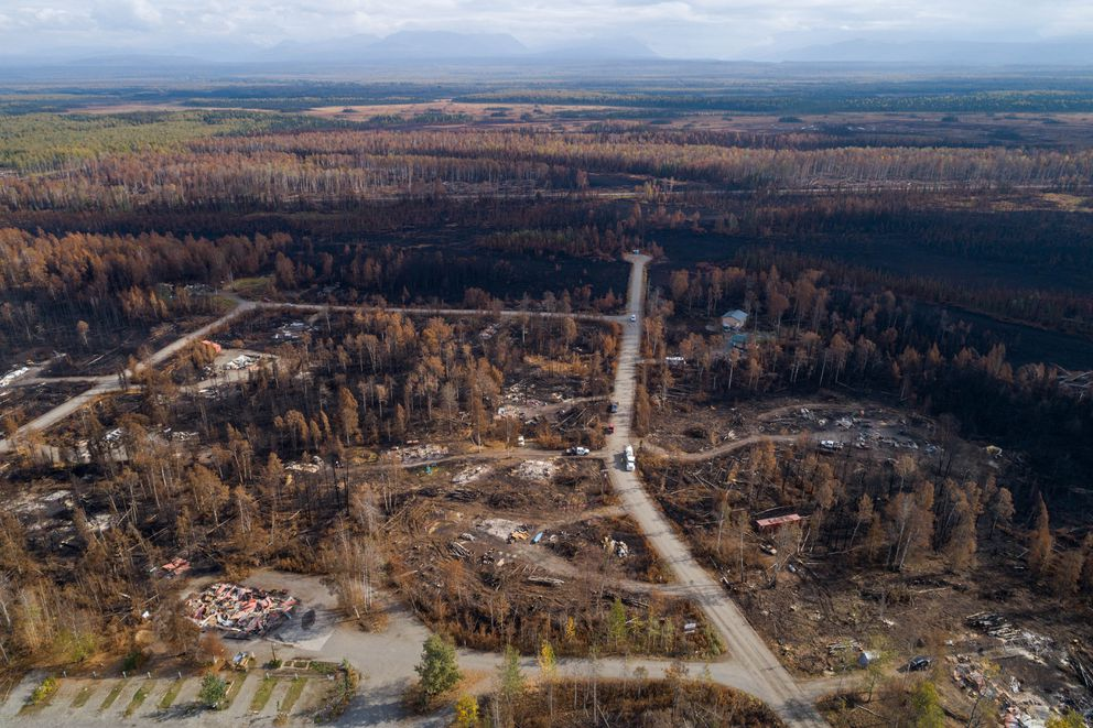 Homes destroyed by the McKinley fire in a neighborhood near mile 91 of the Parks Highway on Wednesday, Sept. 4, 2019. (Loren Holmes / ADN)