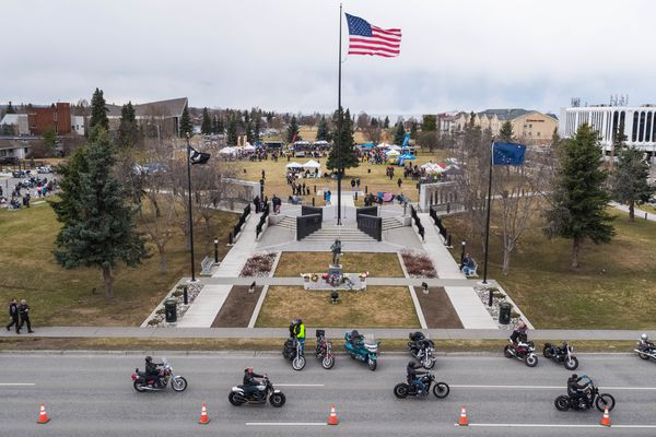 Motorcyclists leave after the Gathering at the Bike Blessing Saturday, May 5, 2018. The event drew over 1,200 motorcycles and 2,500 people, according to organizer Dave Monroe. (Loren Holmes / ADN)
