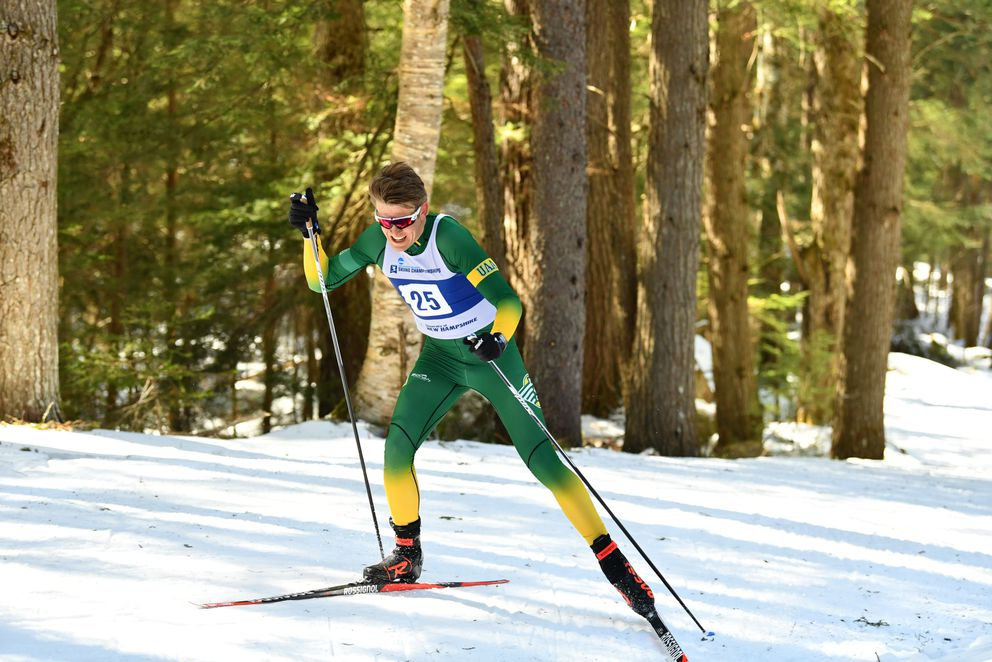 UAA sophomore Sigurd Roenning skis to sixth place in the men's 20K freestyle race Saturday at the NCAA national championships in Jackson, New Hampshire (Photo by Clarkson Creative)