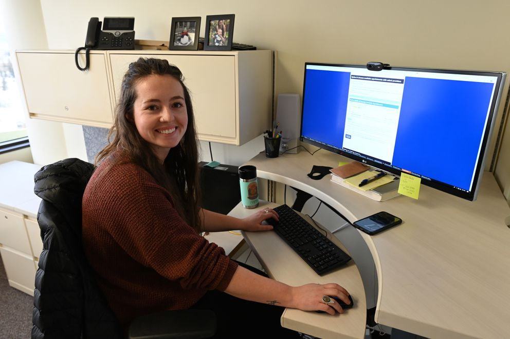 Health Program Associate Hannah LaRue with the Alaska Department of Health and Social Services Public Health Nursing helped get the COVID-19 vaccine hotline call center up and running at 907-646-3322. Photographed on Tuesday, Jan. 26, 2021. (Bill Roth / ADN)