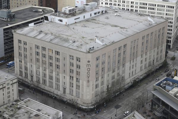 Macy's Inc.'s department store in downtown Seattle is shown viewed from a neighboring building, Wednesday, Feb. 17, 2016. (AP Photo/Ted S. Warren)