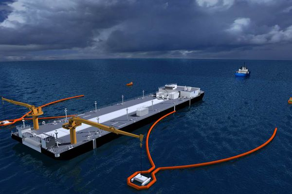 A diagram for an Edison Chouest spill-response barge shows orange boom to corral oil and skimmers suspended off either side to suck up oil. (Photo provided by Alyeska Pipeline)
