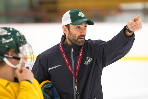 University of Alaska Anchorage hockey coach Matt Curley leads his team in a practice Tuesday, Sept. 25, 2018 at the Wells Fargo Sports Complex. (Loren Holmes / ADN)