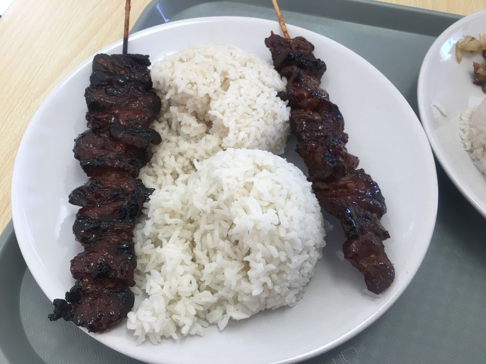 Barbecue pork skewers at Mama Tuds Kitchen in Anchorage (Photo by Mara Severin)