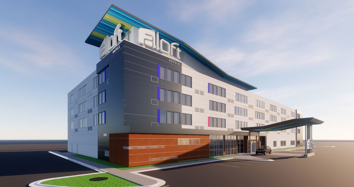 An Aloft Hotel is planned for Midtown Anchorage at 36th and C Street, to open in 2021. (Conceptual drawing provided by JL Properties)