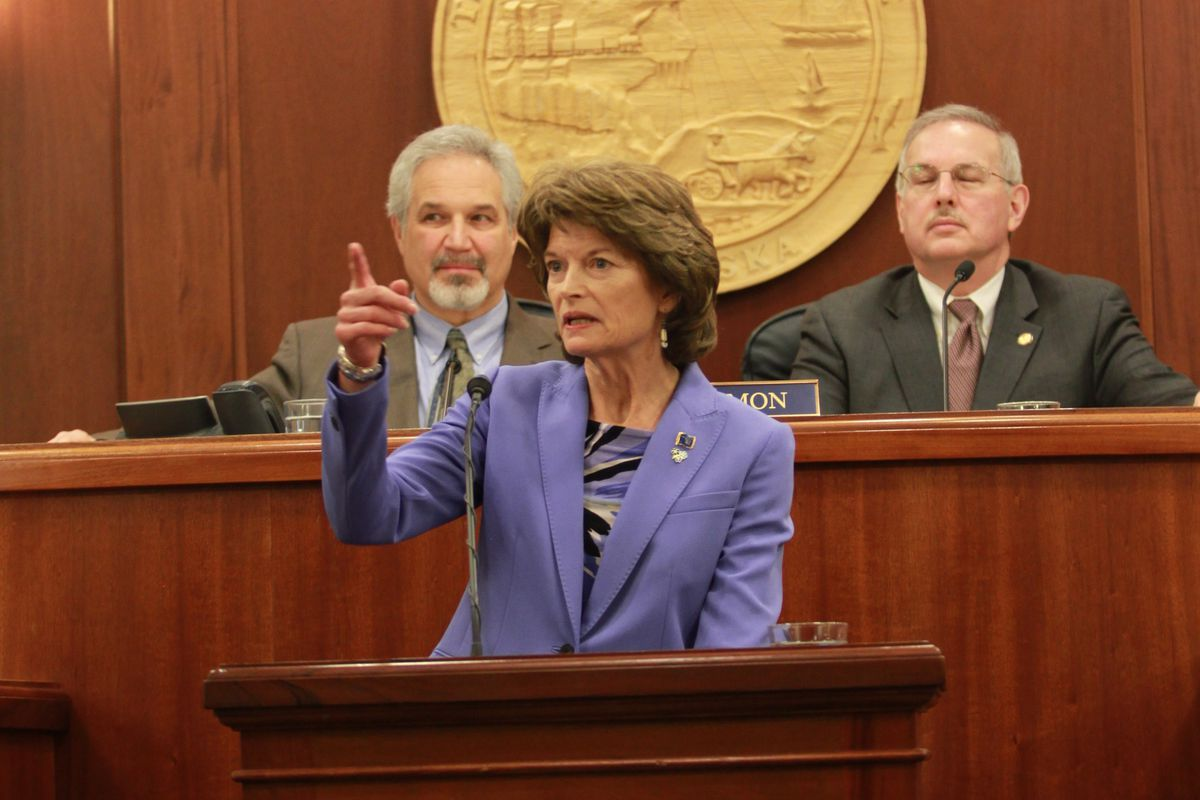 U.S. Sen. Lisa Murkowski delivers her annual speech to the Alaska Legislature on Wednesday. (Nathaniel Herz / Alaska Dispatch News)
