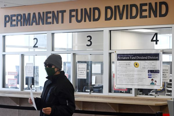 PFD applications were available at the Anchorage PFD information office at 655 F Street in the Linny Pacillo parking garage on Tuesday, March 30, 2021. (Bill Roth / ADN)