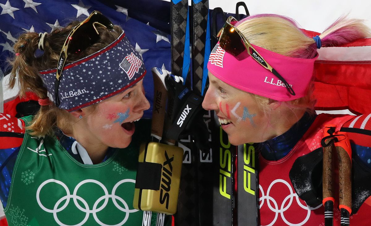 Cross-Country Skiing – Pyeongchang 2018 Winter Olympics – Women's Team Sprint Free Finals – Alpensia Cross-Country Skiing Centre – Pyeongchang, South Korea – February 21, 2018 – Jessica Diggins and Kikkan Randall of the U.S. celebrate. REUTERS/Carlos Barria