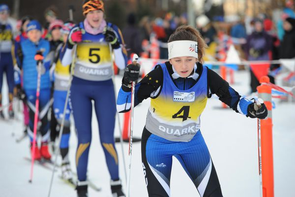 Maja Lapkass competed in a sprint race at Kincaid Park on Sunday, Jan. 14, 2018, for a spot on Team Alaska's biathlon squad for the Arctic Winter Games. The Games are in Hay River, South Slave Lake, Northwest Territories, Canada, in March. (Bill Roth / ADN)