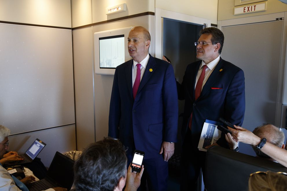 U.S. Ambassador to the European Union Gordon Sondland, left, and European Union Vice President Maros Sefcovic speak with reporters about trade as they travel with President Donald Trump, Tuesday, May 14, 2019, aboard Air Force One. (AP Photo/Evan Vucci)