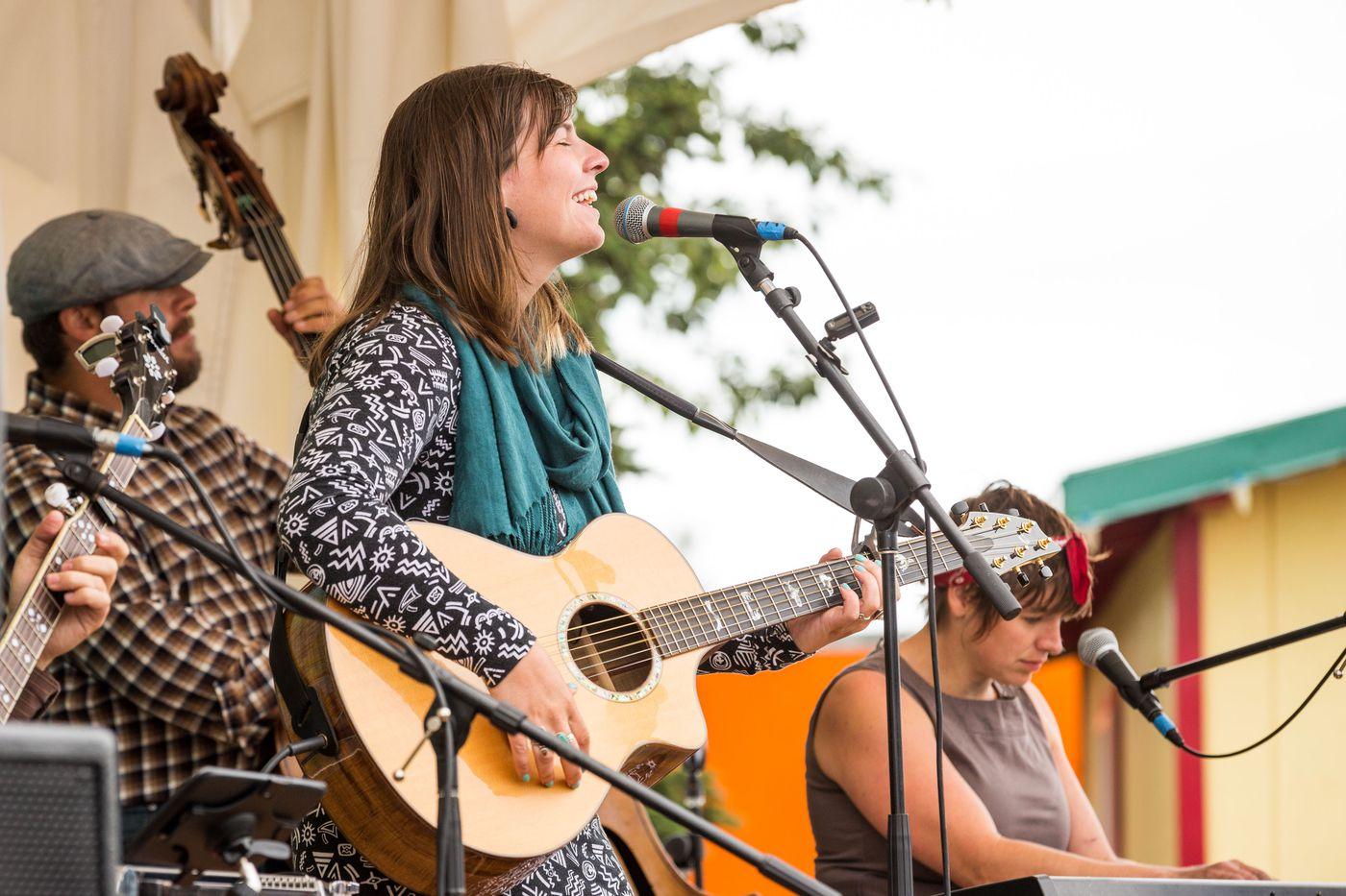 Singer-songwriter Emma Hill performs at Salmonstock on Sunday morning, August 3, 2014. (Loren Holmes / Alaska Dispatch News)