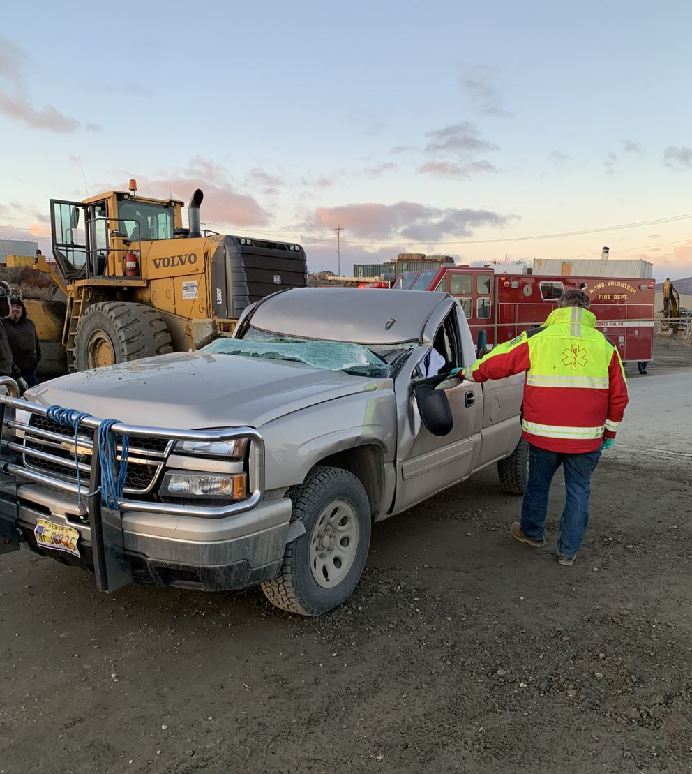 A pickup after it struck a steel cable stretched across Port Road in Nome in October 2018. (Nome Police Department photo)
