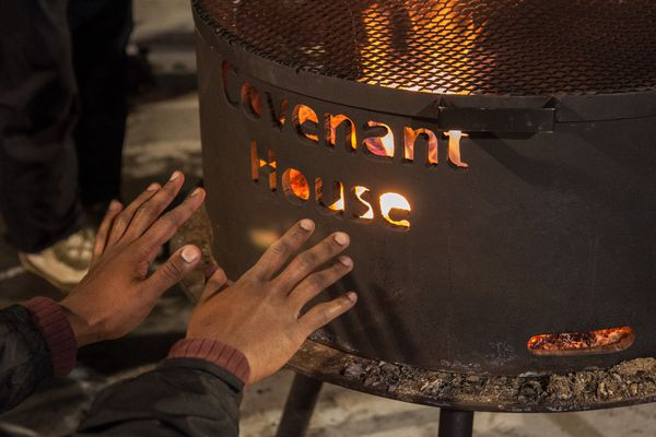 Warming fire at Covenant House. (Photo by Tim Leach)