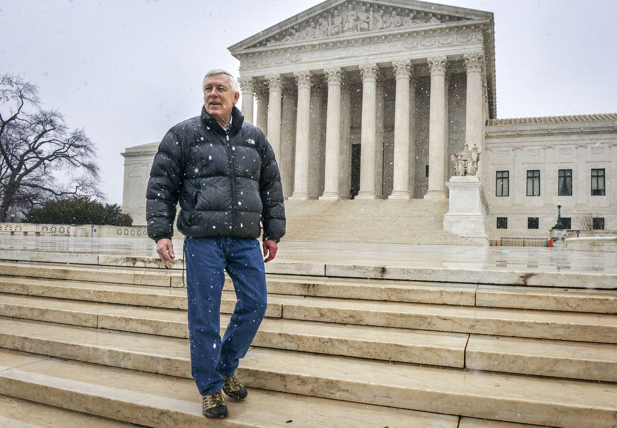 John Sturgeon, in front of the Supreme Court, is part of a case involving a hovercraft and moose hunting, on January, 17, 2016 in Washington, D.C. (Bill O'Leary / The Washington Post)