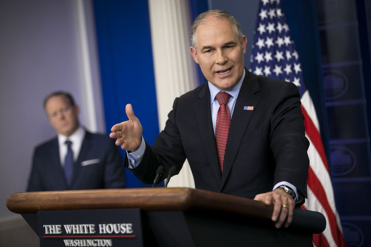 Scott Pruitt, administrator of the Environmental Protection Agency, speaks during a daily briefing in the White House in Washington, June 2, 2017. President Donald Trump, who had never met Pruitt before his election, offered him the job of EPA administrator — putting him in a position to dismantle the environmental rules that he had long sought to fight in court. (Al Drago/The New York Times)
