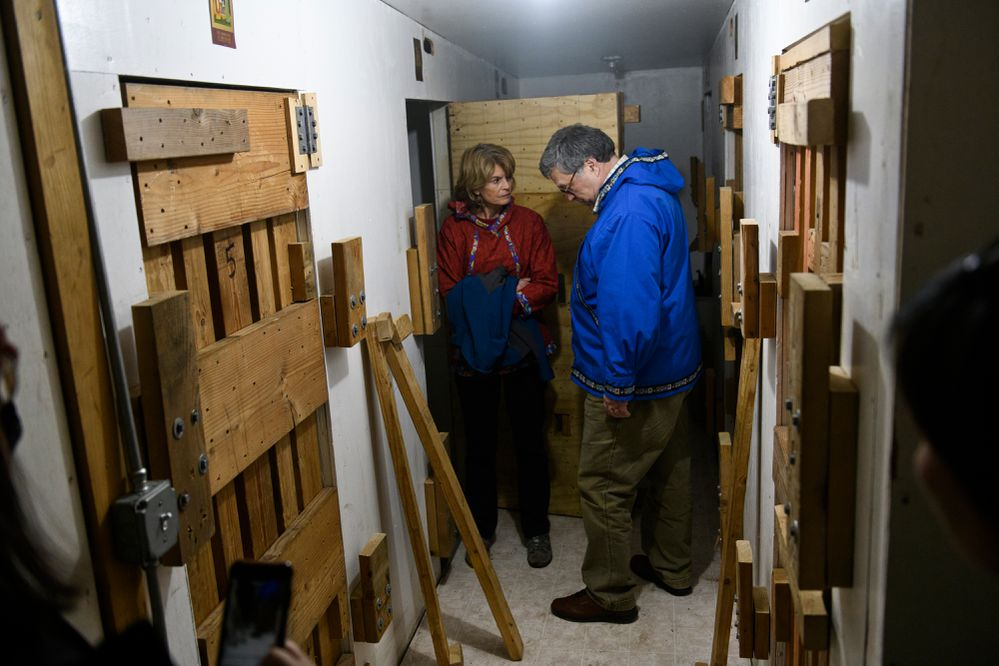 Sen. Lisa Murkowsk and U.S. Attorney General William Barr tour holding cells inside the Napaskiak public safety building on May 31, 2019. (Marc Lester / ADN)