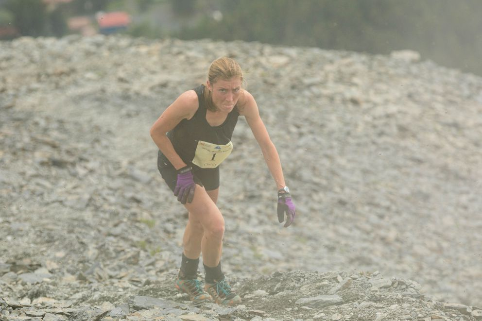 Two-time and defending champion Christy Marvin, 36, of Palmer, finished third in 52:22 for the women's Mount Marathon race. (Loren Holmes / Alaska Dispatch News)