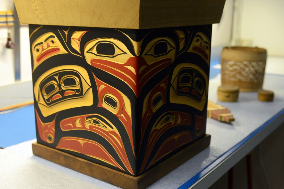 This lovebird design box was made of yellow and red cedar by Tlingit carver Norman Jackson. It resides at the Anchorage Museum at Rasmuson Center courtesy of the Rasmuson Foundation Art Acquisition Fund. (Erik Hill / Alaska Dispatch News)