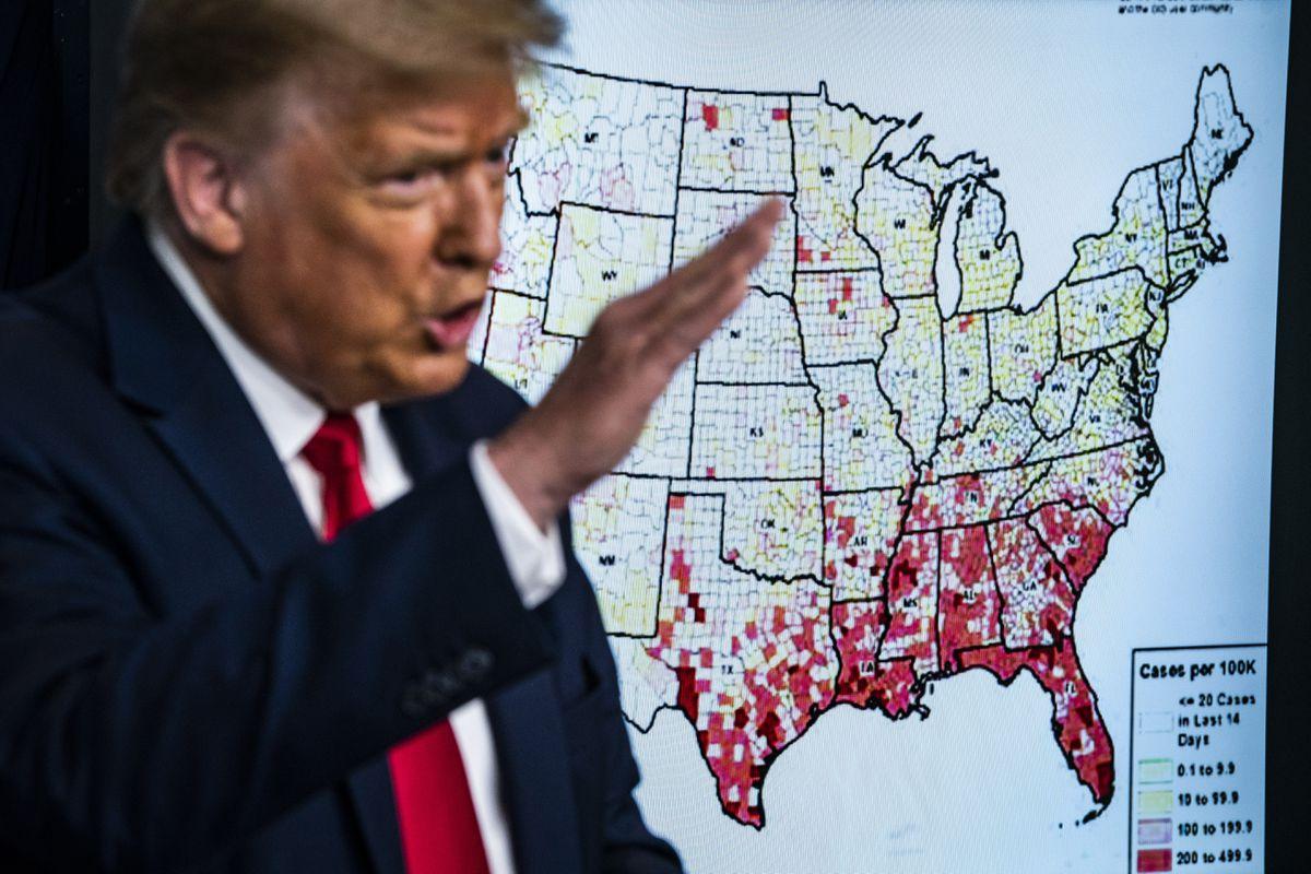 President Trump speaks during a coronavirus briefing at the White House in Washington on July 23. (Washington Post photo by Jabin Botsford.)