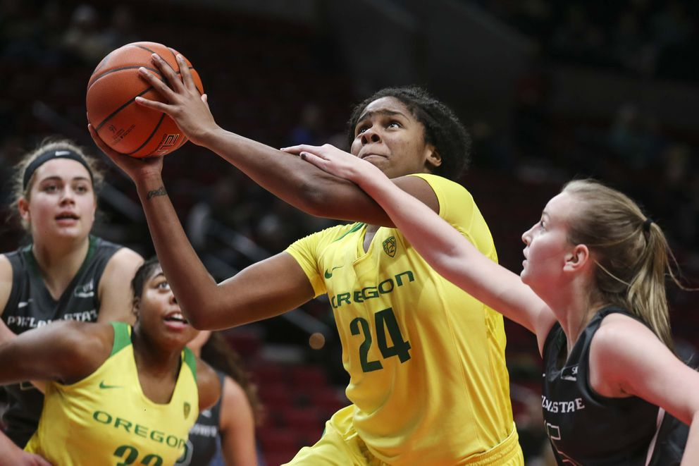 Oregon freshman Ruthy Hebard of Fairbanks drives to the basket against Portland State on Saturday, Dec. 17, 2016, at the Moda Center in Portland. (Eric Evans Photography)