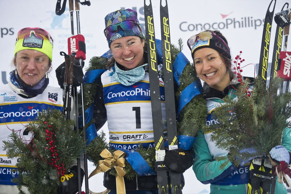 The podium ceremony in the women's race honored Caitlin Gregg (second place), Caitlin Patterson (winner) and Chelsea Holmes (third place).(Marc Lester / ADN)