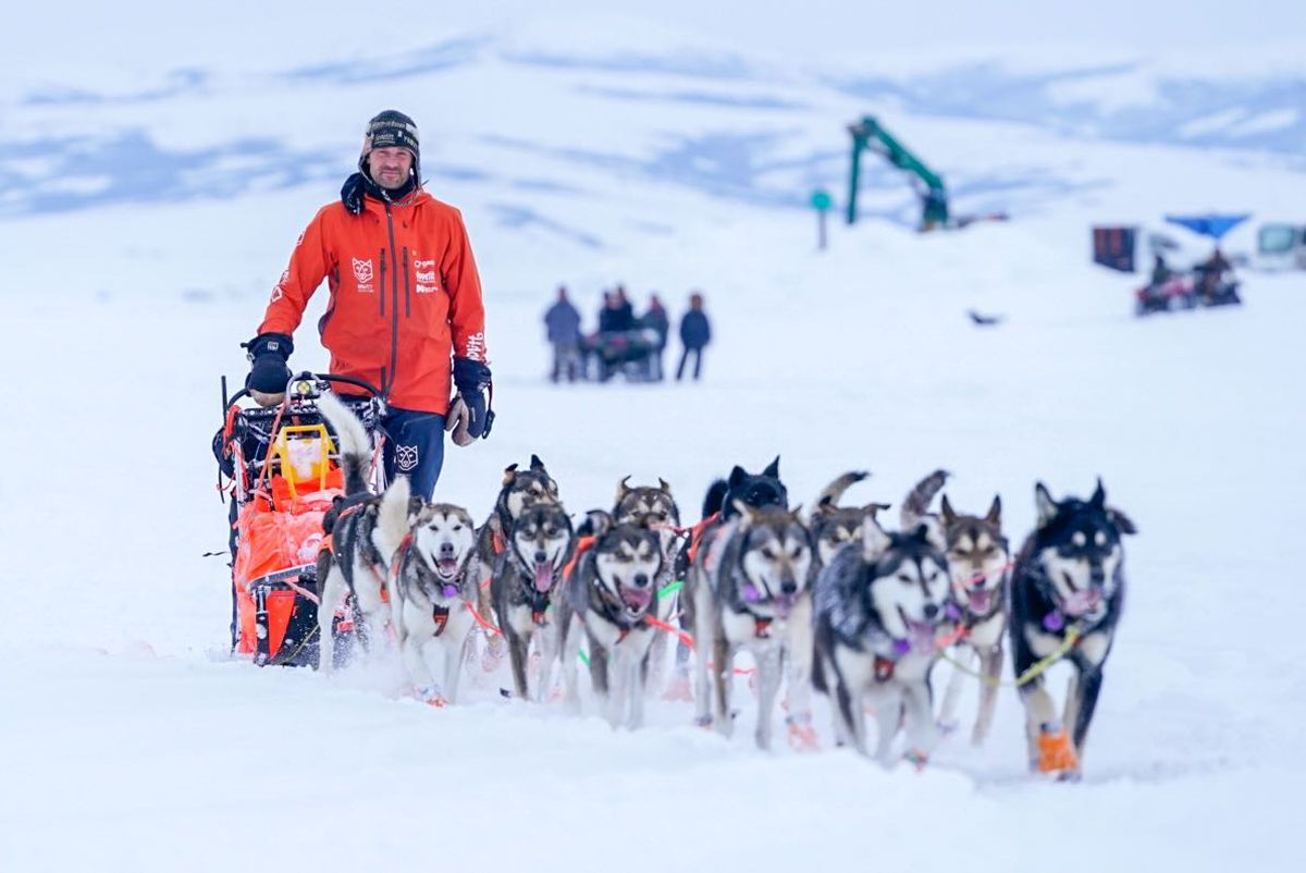 Thomas Waerner drives his dog team into Unalakleet on Sunday, March 15, 2020. Waerner is the first team to the coast during the Iditarod. (Loren Holmes / ADN)