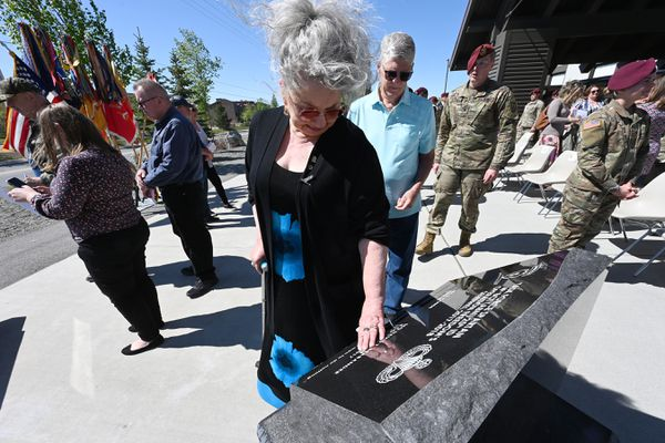 Rena Hite of Wasilla touches her grandson's name, Staff Sgt. David Thomas Brabander, on a memorial during a Spartan Remembrance Ceremony at Joint Base Elmendorf-Richardson on Wednesday, May 26, 2021, honoring the 77 fallen paratroopers from the 4th Infantry Brigade Combat Team (Airborne), 25th Infantry Division, who were killed in Iraq or Afghanistan. Staff Sgt. Brabander, 24, who was born and raised in Anchorage, died from injuries sustained in a vehicle rollover in Nangarhar Province, Afghanistan, on Dec. 11, 2017.