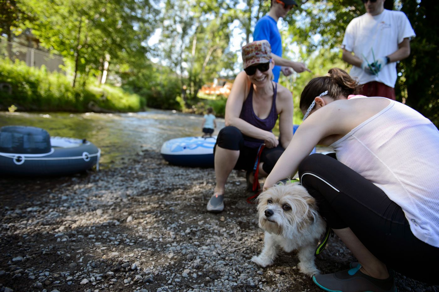 The Rawhani family prepares to float on Campbell Creek at Wickersham Park on July 3. (Marc Lester / ADN)