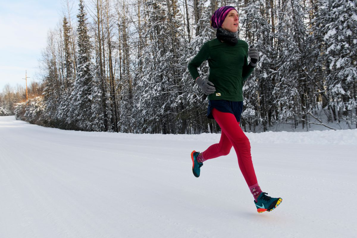 Marathon runner Megan Youngren trains on a Soldotna road on February 14, 2020. Megan Youngren, 28, qualified in December for the U.S. Olympic Marathon Trials. (Marc Lester / ADN)