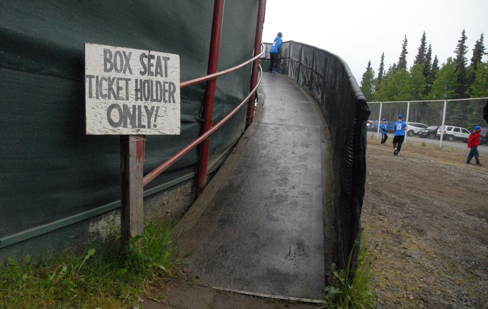 The ramp leading to the grandstands at Coral Seymour Memorial Park in Kenai. (Matt Tunseth / Chugiak-Eagle River Star)