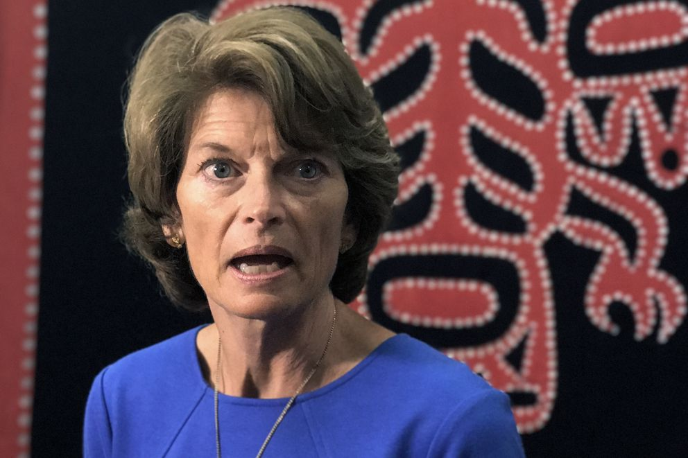 Alaska Sen. Lisa Murkowski talks to reporters about the GOP efforts to repeal and replace the Affordable Health Care Act, July 18, 2017. (Erica Martinson / Alaska Dispatch News)