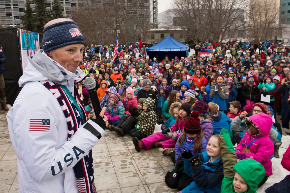 Kikkan Randall speaks to a crowd gathered in Town Square on April 4, 2018. Hundreds of Alaskans filled Town Square Park in Anchorage, Alaska, for a celebration of gold medal winner Kikkan Randall and the state's other Winter Olympians. (Marc Lester / ADN)