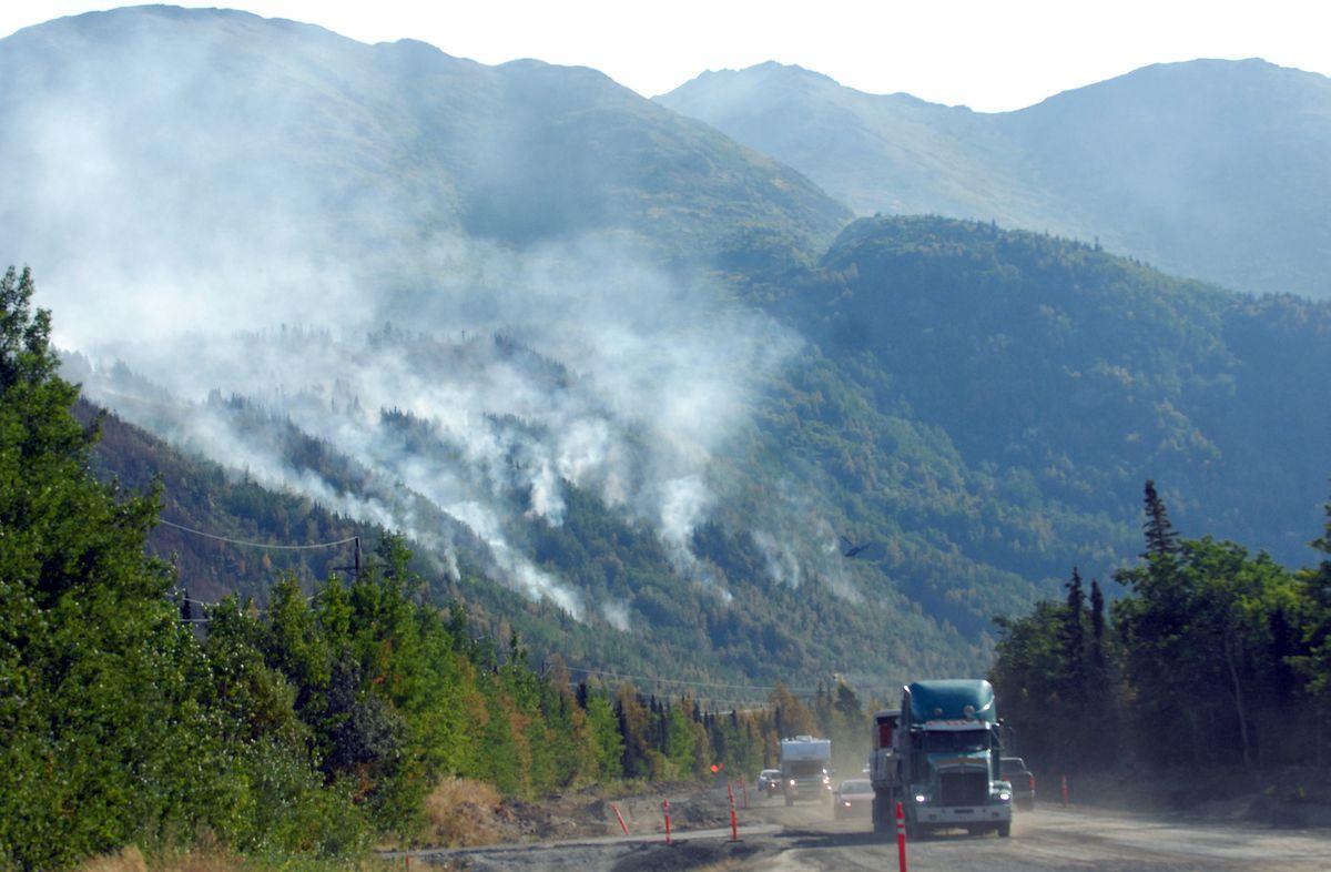 Swan Lake fire burning along Sterling Highway